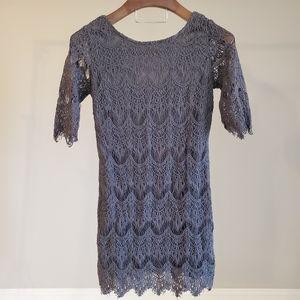 NWT Ezra - Dark Grey Dress Crochet 1/2 sleeve